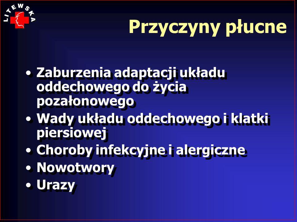 Przyczyny płucneZaburzenia adaptacji układu oddechowego do życia pozałonowego. Wady układu oddechowego i klatki piersiowej.