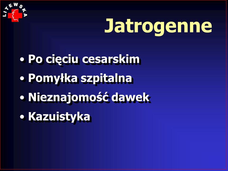Jatrogenne Po cięciu cesarskim Pomyłka szpitalna Nieznajomość dawek