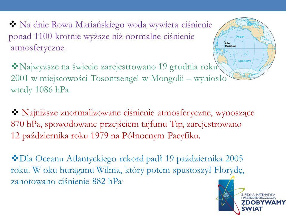 Na dnie Rowu Mariańskiego woda wywiera ciśnienie 110,2 MPa, czyli