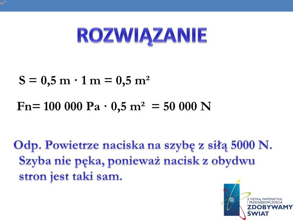 ROZWIĄZANIE Fn= 100 000 Pa · 0,5 m² = 50 000 N