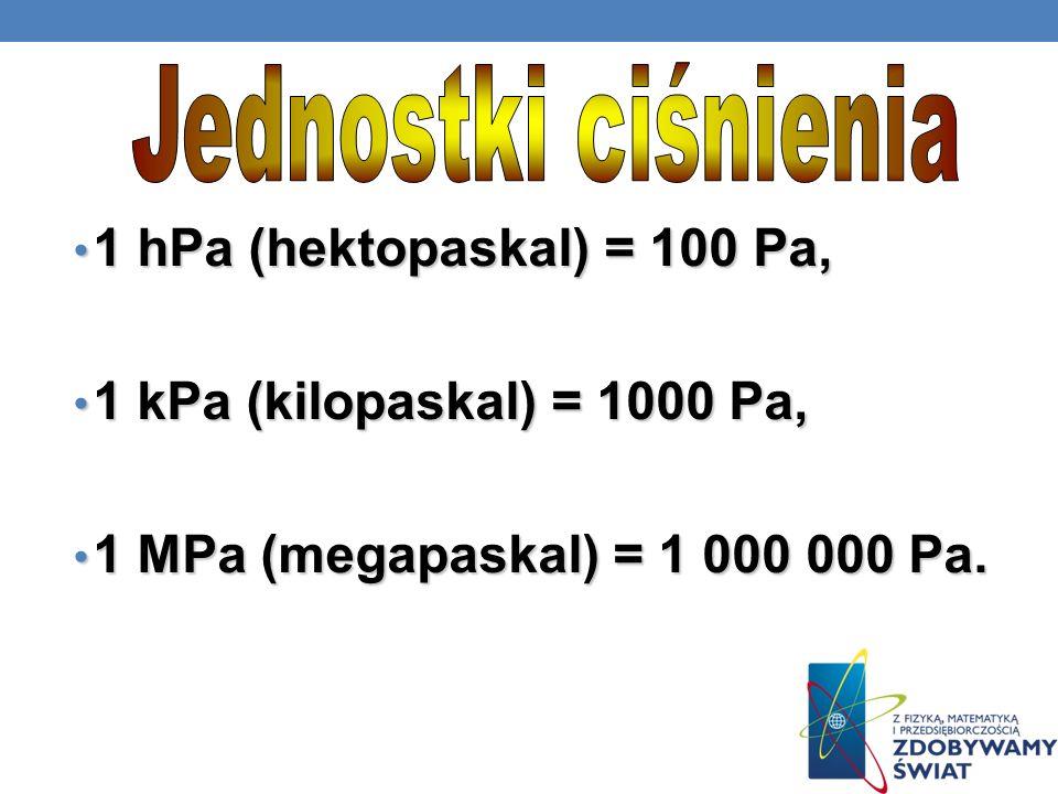Jednostki ciśnienia 1 hPa (hektopaskal) = 100 Pa, 1 kPa (kilopaskal) = 1000 Pa, 1 MPa (megapaskal) = 1 000 000 Pa.