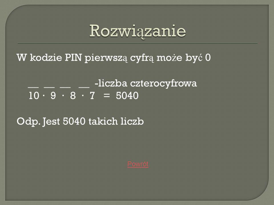 Rozwiązanie W kodzie PIN pierwszą cyfrą może być 0