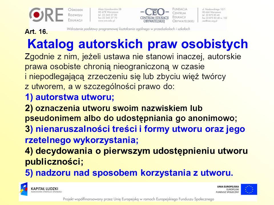 Katalog autorskich praw osobistych