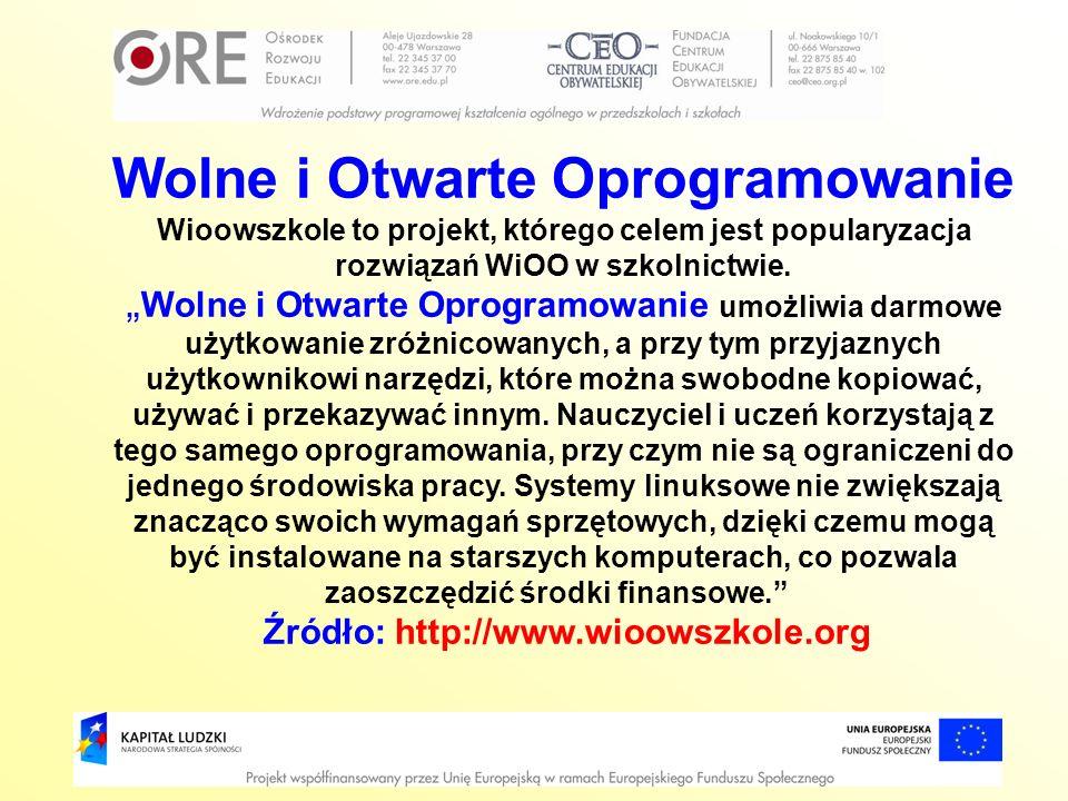 Wolne i Otwarte Oprogramowanie Źródło: http://www.wioowszkole.org