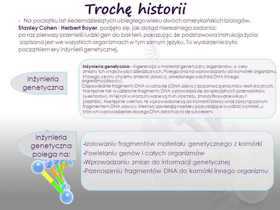 Trochę historii inżynieria genetyczna Inżynieria genetyczna polega na: