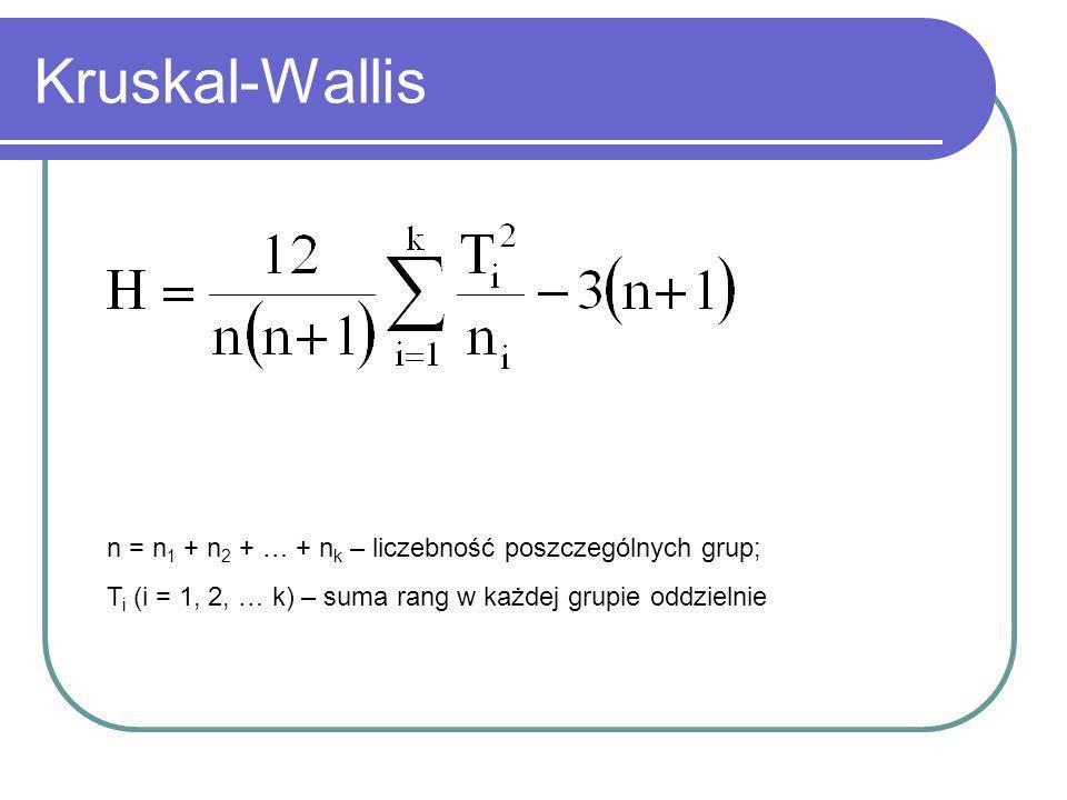 Kruskal-Wallis n = n1 + n2 + … + nk – liczebność poszczególnych grup;