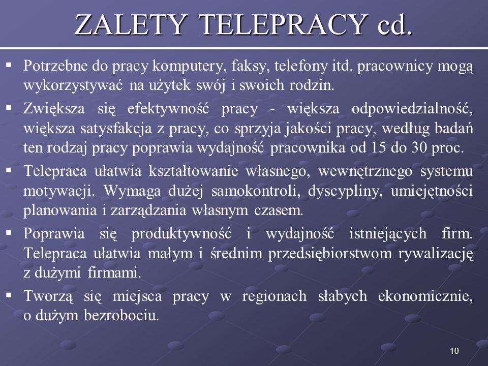 ZALETY TELEPRACY cd. Potrzebne do pracy komputery, faksy, telefony itd. pracownicy mogą wykorzystywać na użytek swój i swoich rodzin.