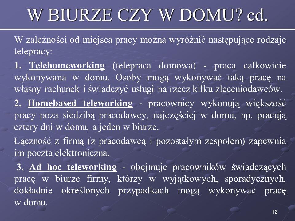 W BIURZE CZY W DOMU cd. W zależności od miejsca pracy można wyróżnić następujące rodzaje telepracy: