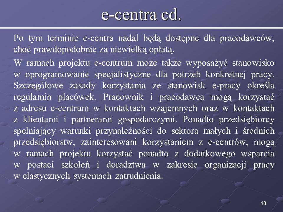 e-centra cd. Po tym terminie e-centra nadal będą dostępne dla pracodawców, choć prawdopodobnie za niewielką opłatą.