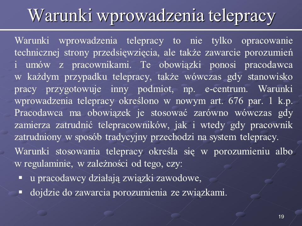 Warunki wprowadzenia telepracy