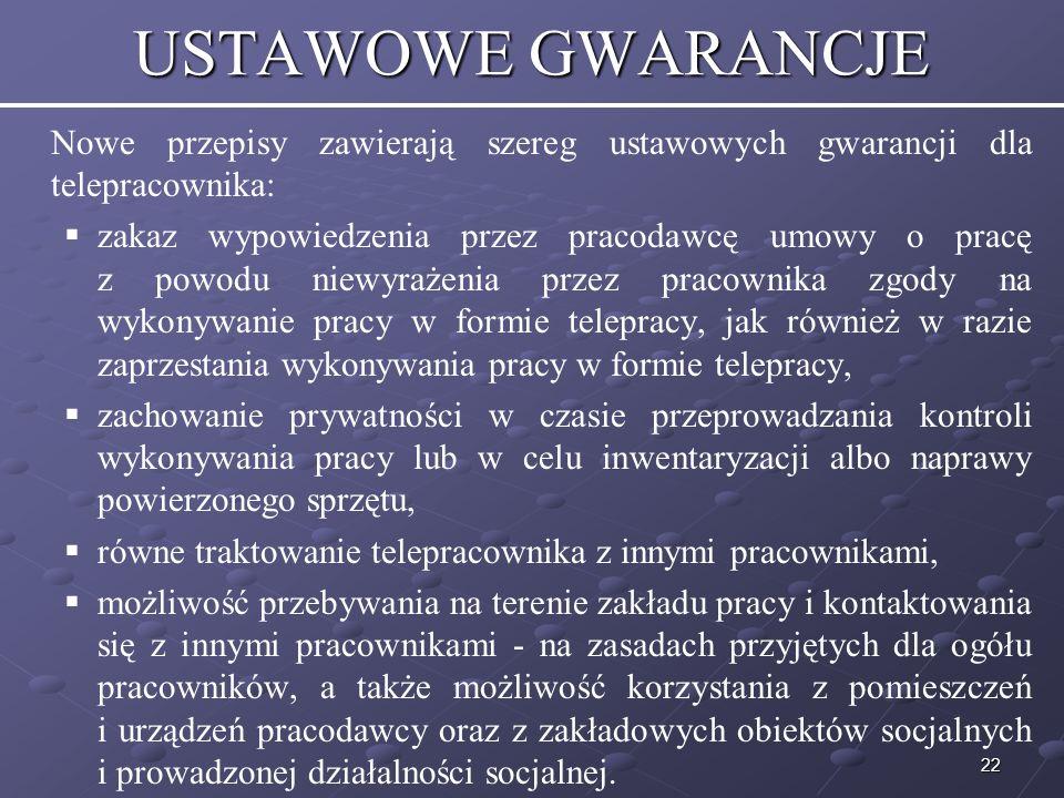 USTAWOWE GWARANCJE Nowe przepisy zawierają szereg ustawowych gwarancji dla telepracownika: