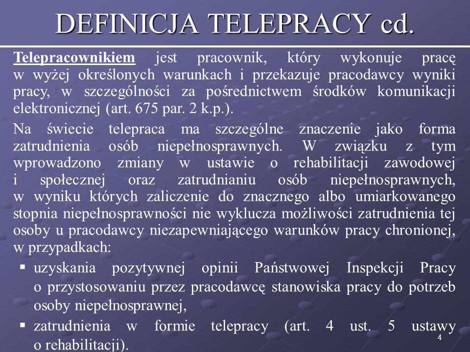 DEFINICJA TELEPRACY cd.