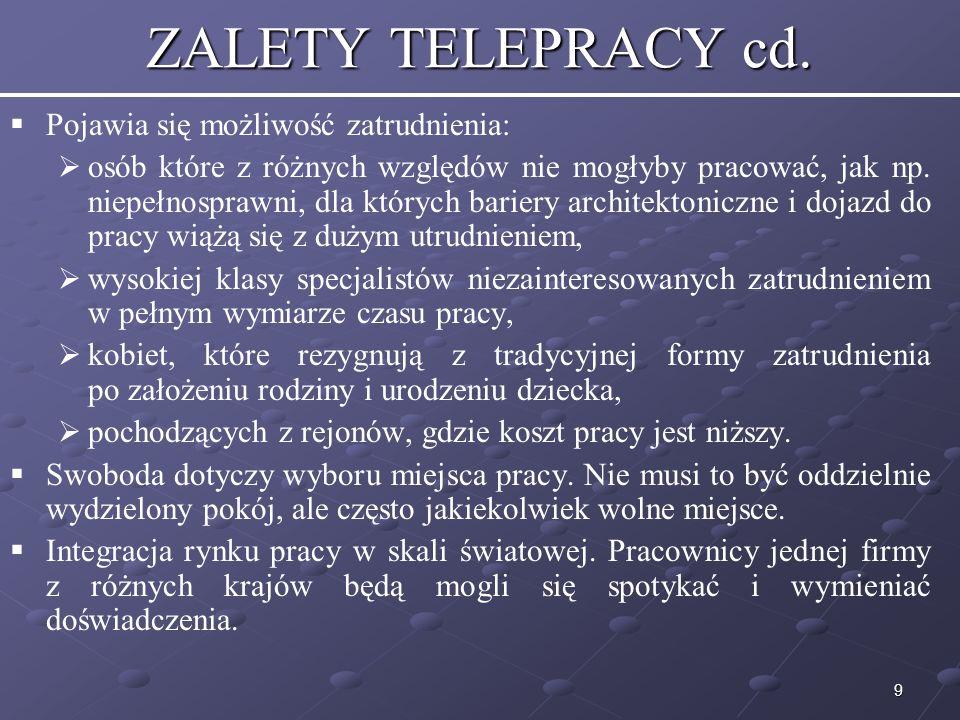 ZALETY TELEPRACY cd. Pojawia się możliwość zatrudnienia: