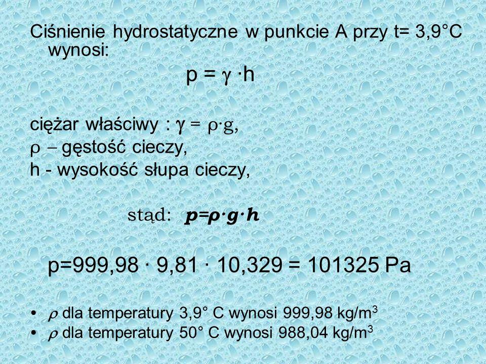 Ciśnienie hydrostatyczne w punkcie A przy t= 3,9°C wynosi:
