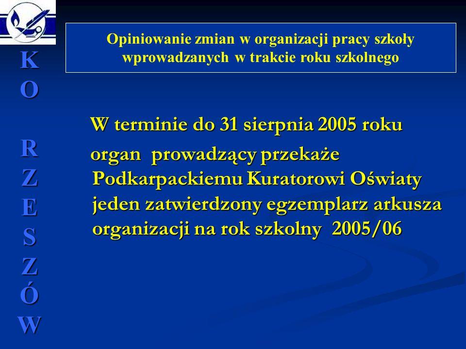 KO RZESZÓW W terminie do 31 sierpnia 2005 roku