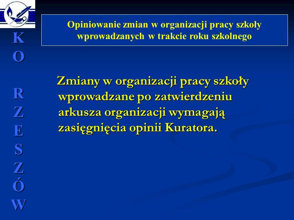 Opiniowanie zmian w organizacji pracy szkoły wprowadzanych w trakcie roku szkolnego