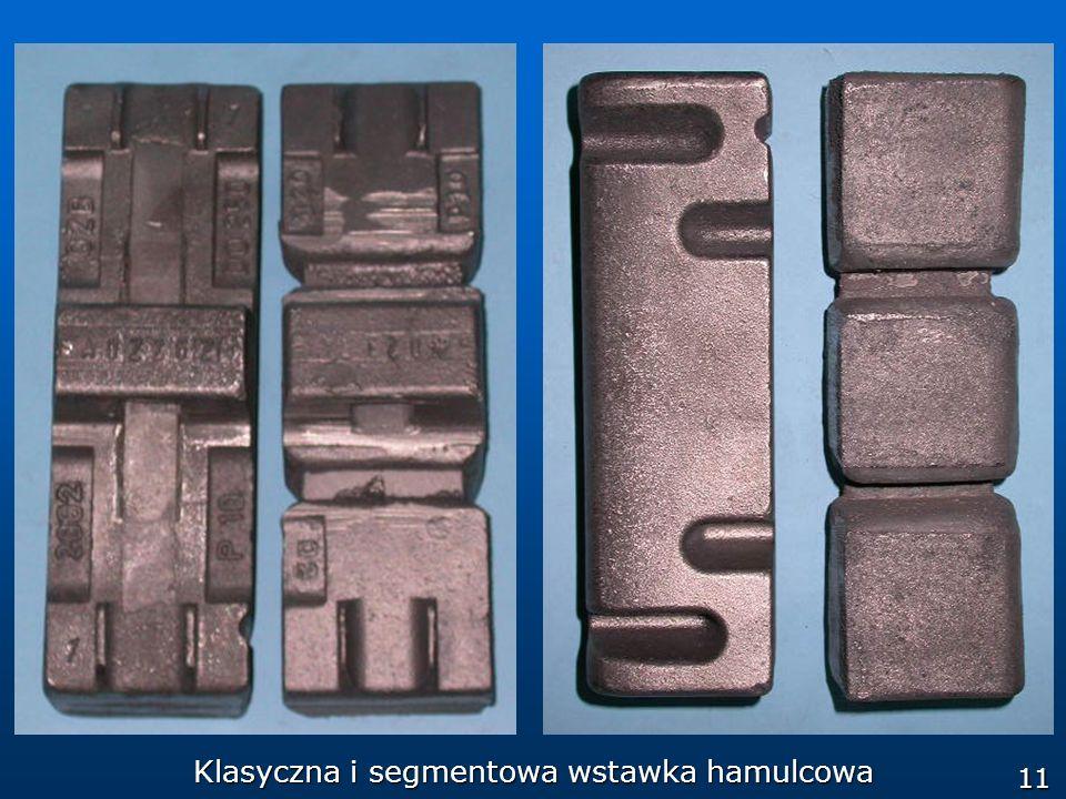 Klasyczna i segmentowa wstawka hamulcowa