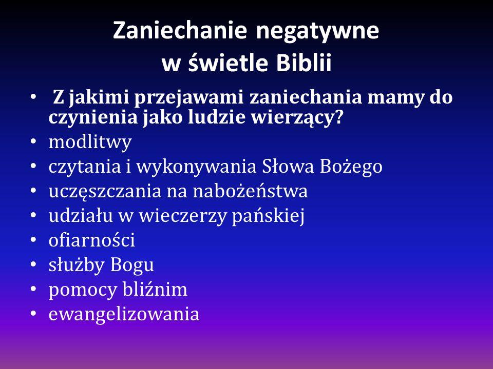 Zaniechanie negatywne w świetle Biblii