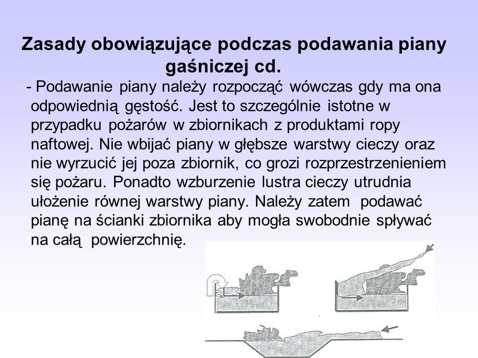Zasady obowiązujące podczas podawania piany. gaśniczej cd