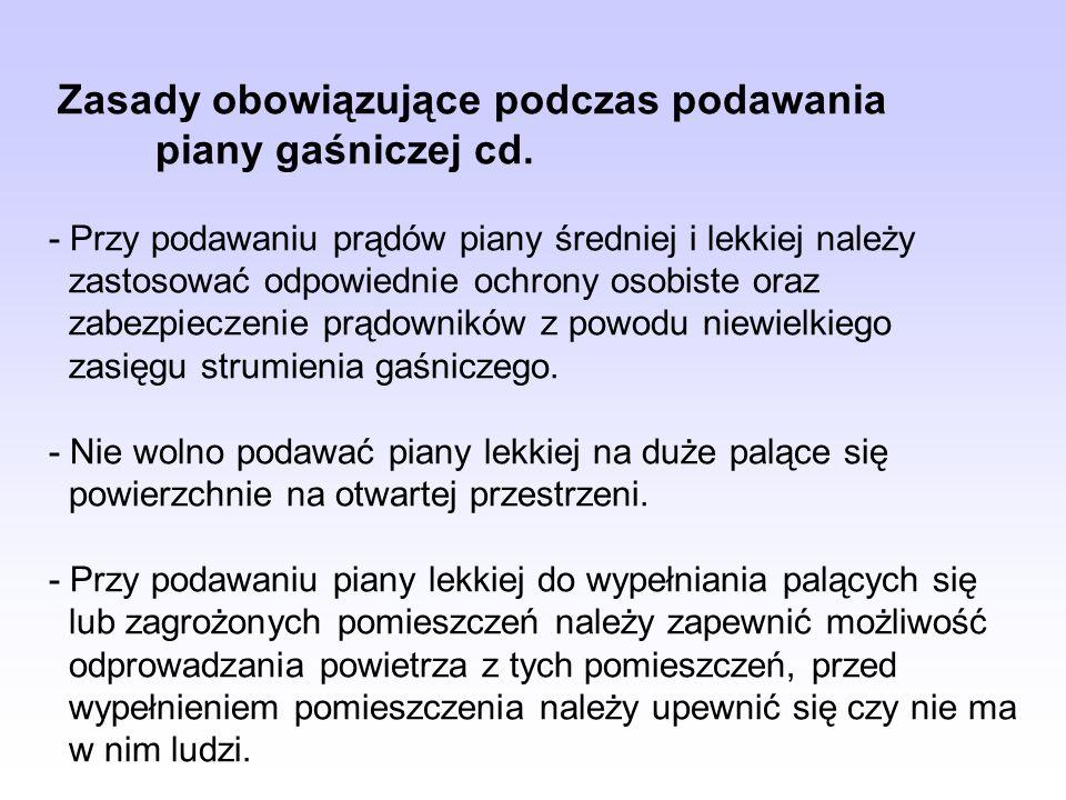 Zasady obowiązujące podczas podawania. piany gaśniczej cd