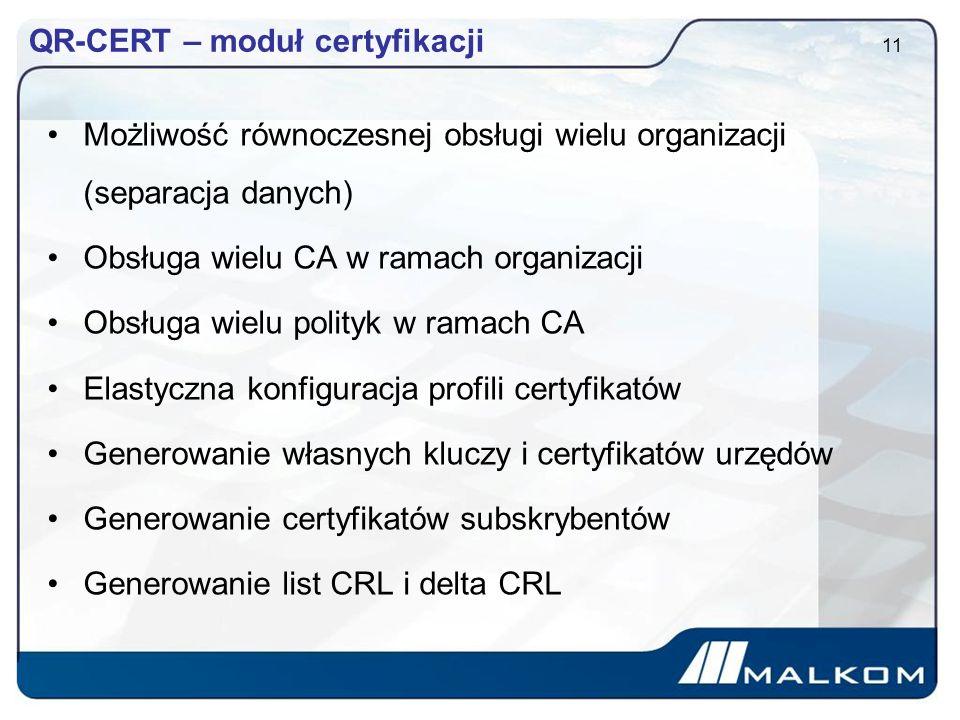QR-CERT – moduł certyfikacji