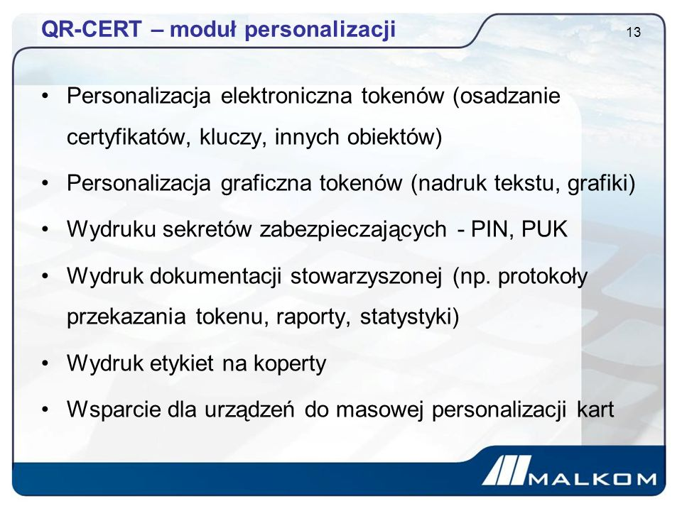 QR-CERT – moduł personalizacji