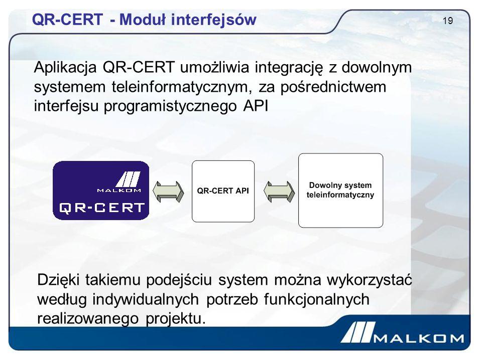 QR-CERT - Moduł interfejsów