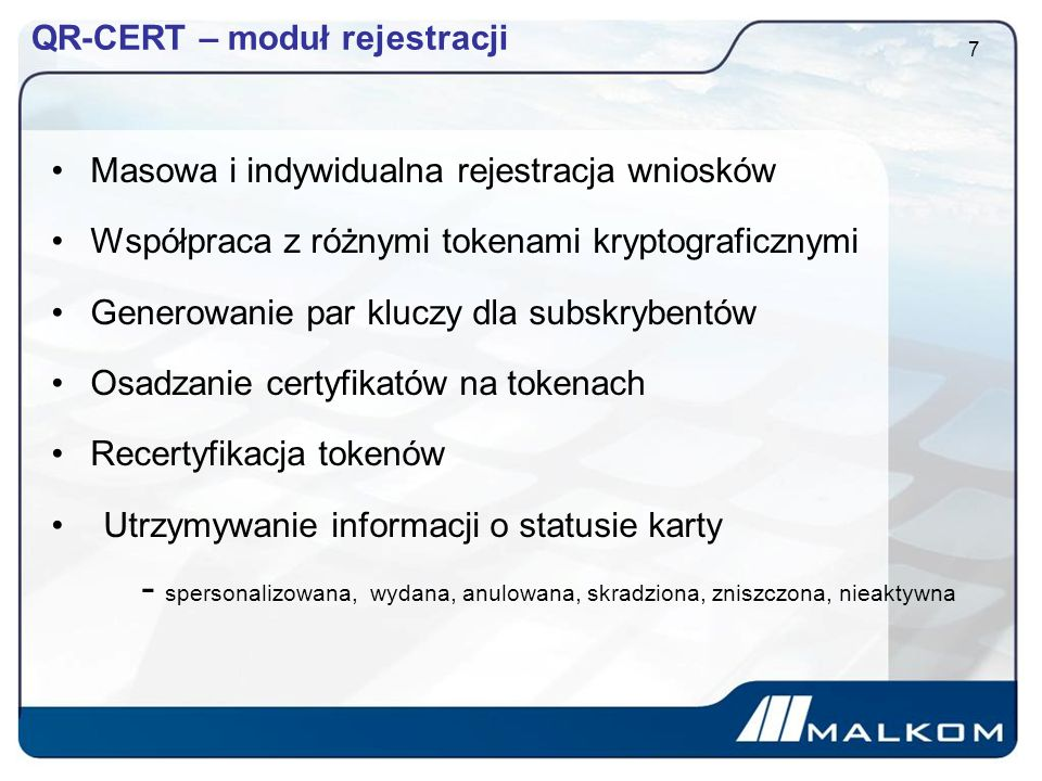 QR-CERT – moduł rejestracji