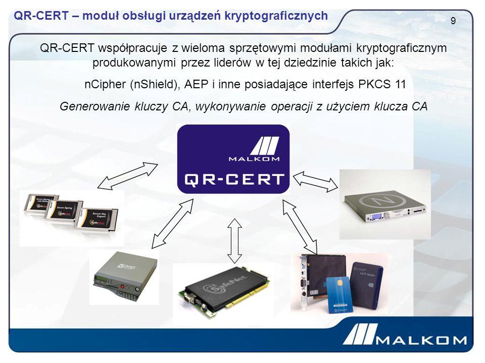QR-CERT – moduł obsługi urządzeń kryptograficznych