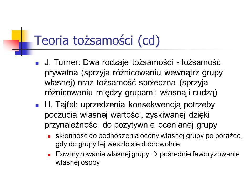 Teoria tożsamości (cd)