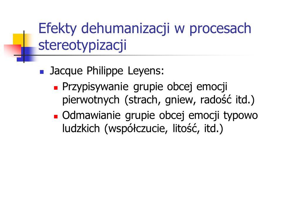 Efekty dehumanizacji w procesach stereotypizacji