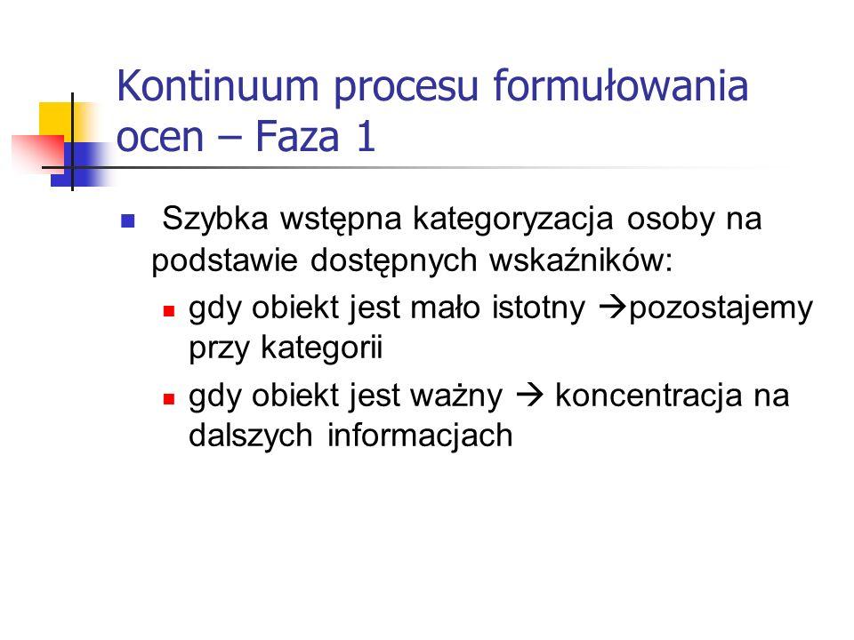 Kontinuum procesu formułowania ocen – Faza 1