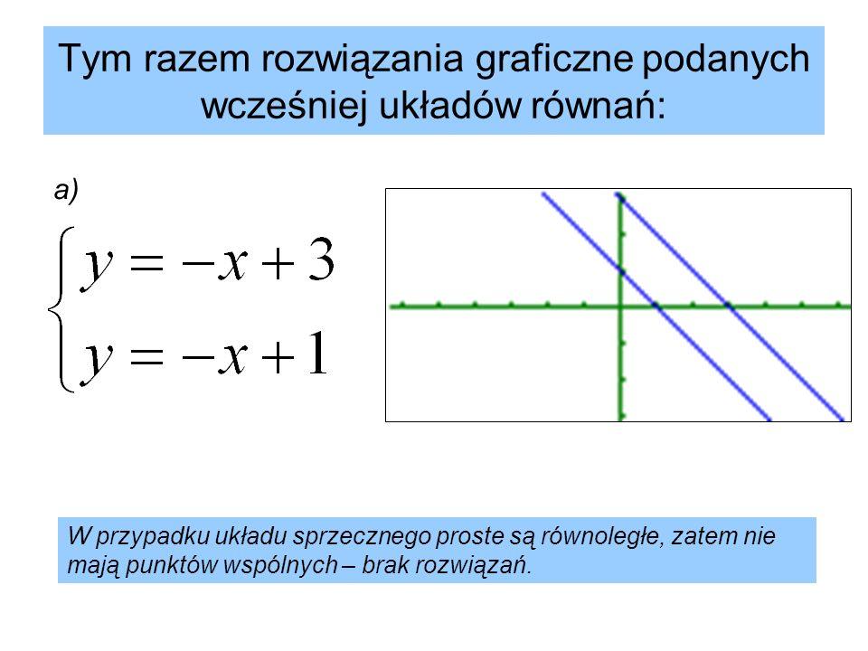 Tym razem rozwiązania graficzne podanych wcześniej układów równań: