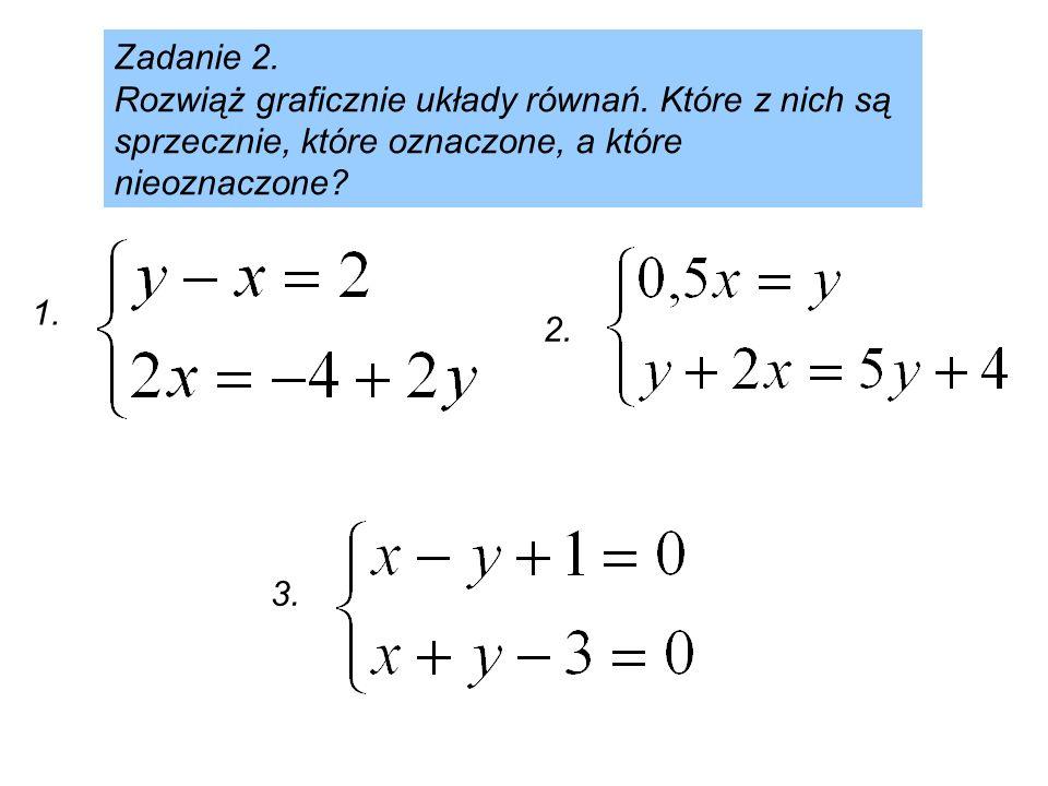 Zadanie 2. Rozwiąż graficznie układy równań. Które z nich są sprzecznie, które oznaczone, a które nieoznaczone