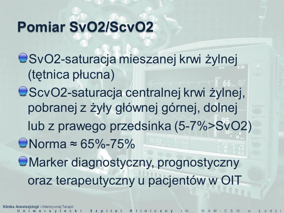 Pomiar SvO2/ScvO2 SvO2-saturacja mieszanej krwi żylnej (tętnica płucna)