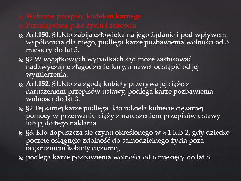Wybrane przepisy kodeksu karnego