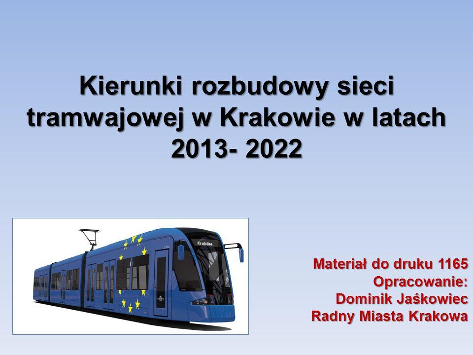 Kierunki rozbudowy sieci tramwajowej w Krakowie w latach 2013- 2022