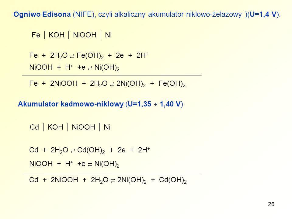 Ogniwo Edisona (NIFE), czyli alkaliczny akumulator niklowo-żelazowy )(U=1,4 V).