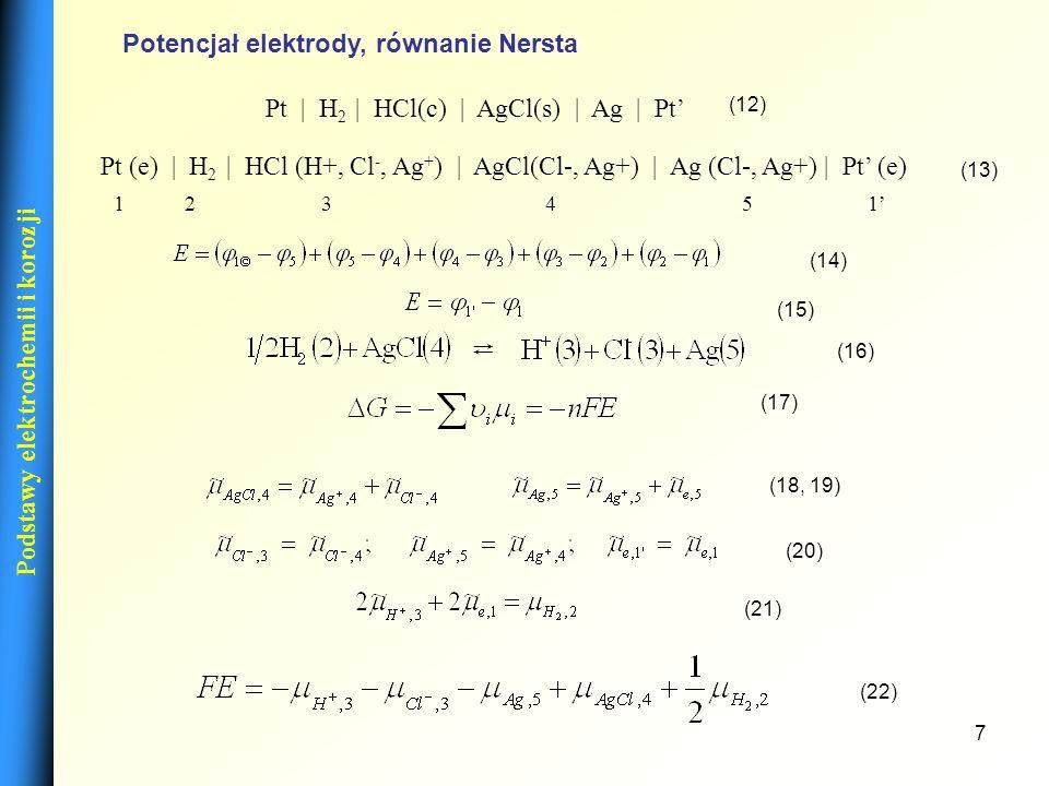 Potencjał elektrody, równanie Nersta