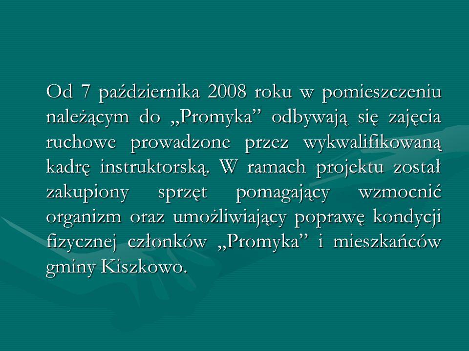 """Od 7 października 2008 roku w pomieszczeniu należącym do """"Promyka odbywają się zajęcia ruchowe prowadzone przez wykwalifikowaną kadrę instruktorską."""
