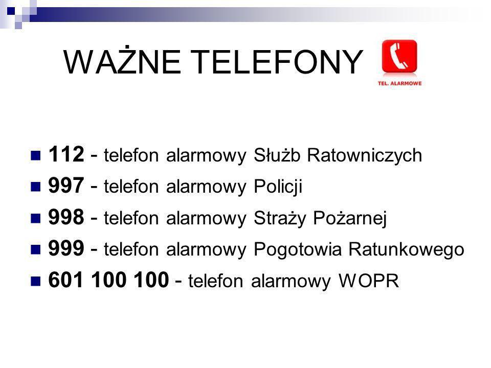WAŻNE TELEFONY 112 - telefon alarmowy Służb Ratowniczych