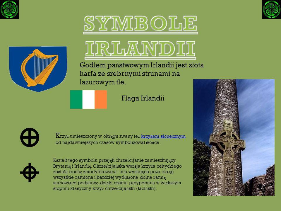 Godłem państwowym Irlandii jest złota harfa ze srebrnymi strunami na lazurowym tle.