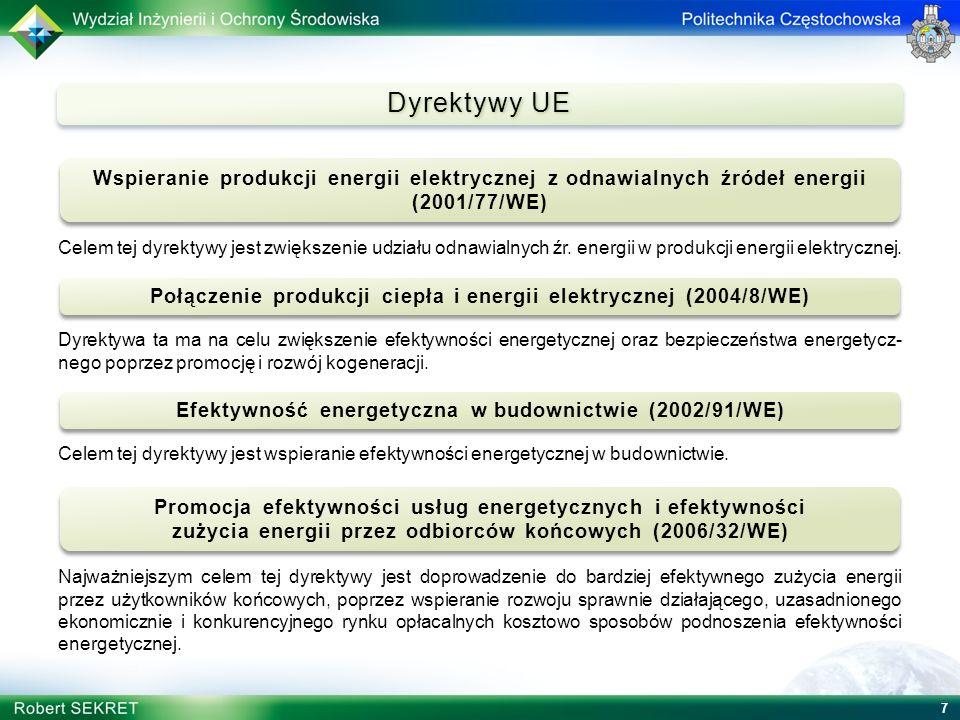Dyrektywy UE Wspieranie produkcji energii elektrycznej z odnawialnych źródeł energii (2001/77/WE)