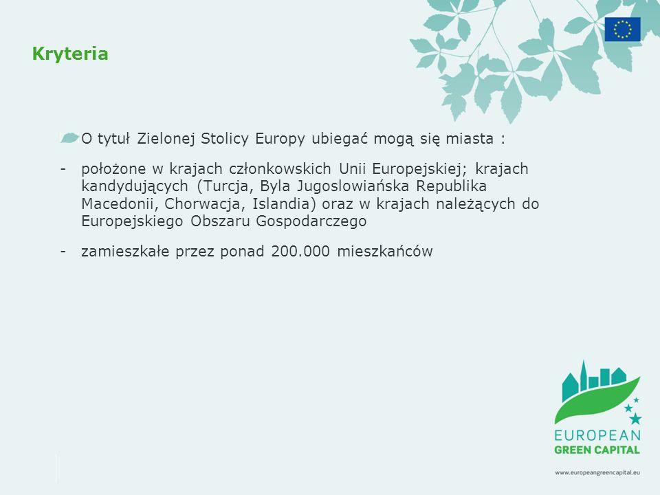 Kryteria O tytuł Zielonej Stolicy Europy ubiegać mogą się miasta :