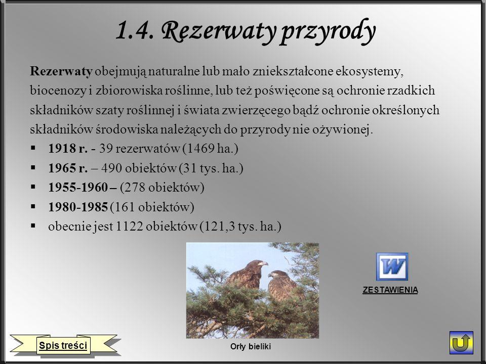 1.4. Rezerwaty przyrody Rezerwaty obejmują naturalne lub mało zniekształcone ekosystemy,