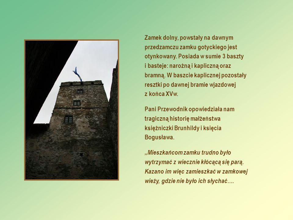 Zamek dolny, powstały na dawnym przedzamczu zamku gotyckiego jest otynkowany. Posiada w sumie 3 baszty