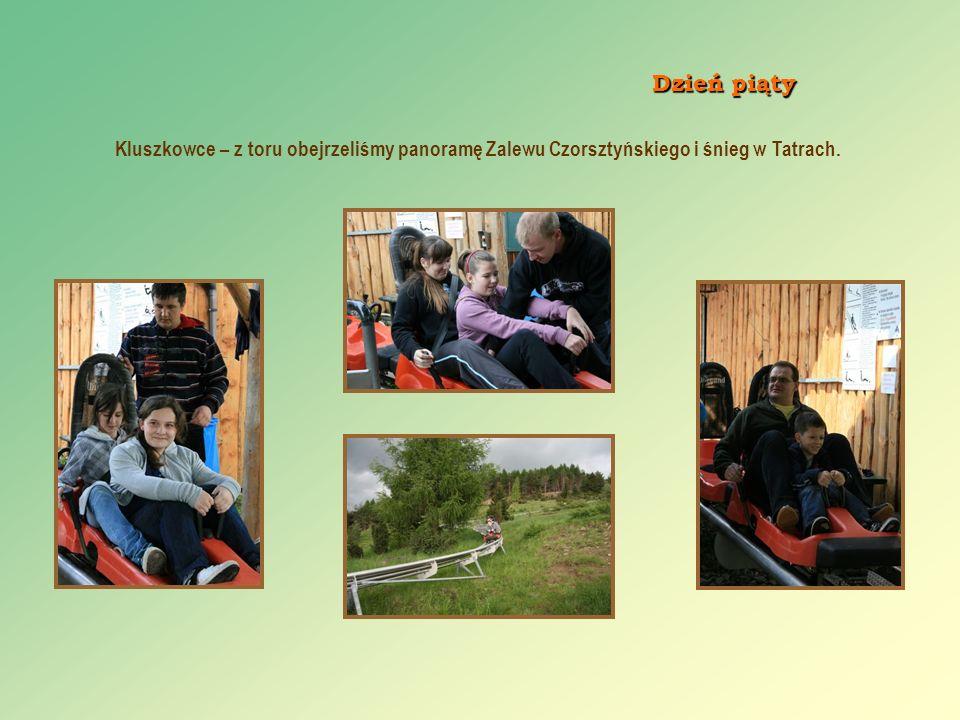 Dzień piąty Kluszkowce – z toru obejrzeliśmy panoramę Zalewu Czorsztyńskiego i śnieg w Tatrach.