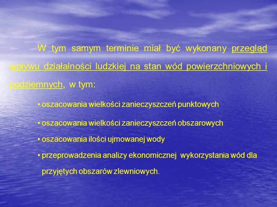 W tym samym terminie miał być wykonany przegląd wpływu działalności ludzkiej na stan wód powierzchniowych i podziemnych, w tym: