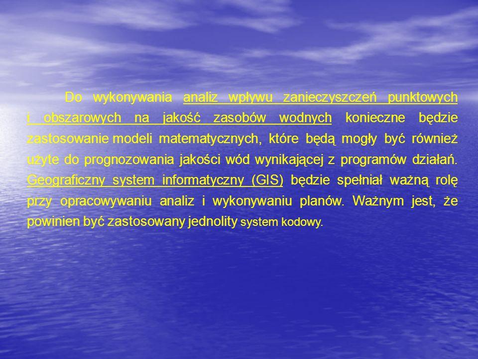 Do wykonywania analiz wpływu zanieczyszczeń punktowych i obszarowych na jakość zasobów wodnych konieczne będzie zastosowanie modeli matematycznych, które będą mogły być również użyte do prognozowania jakości wód wynikającej z programów działań.