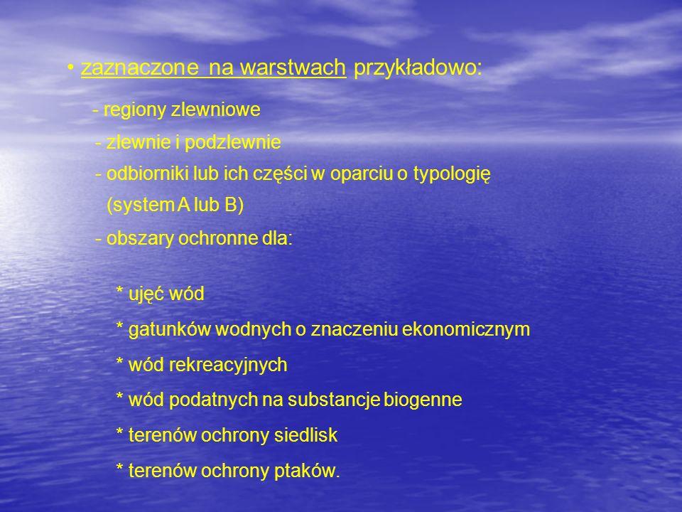 zaznaczone na warstwach przykładowo: